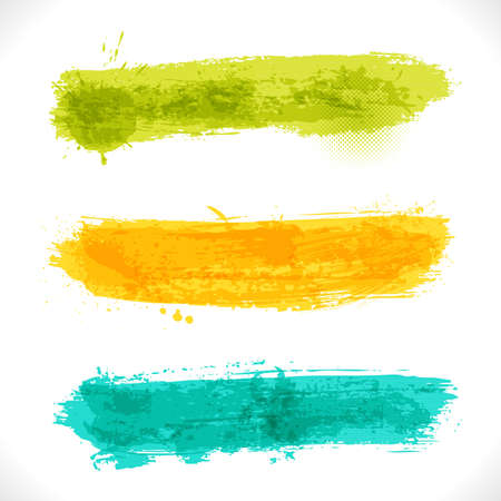 grungy header: Grunge Banners. Multicolored Art Three Backgrounds. Illustration