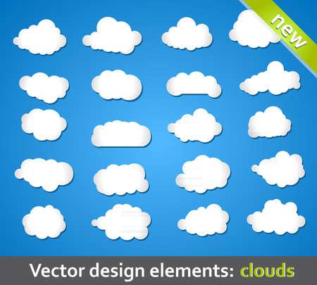 clouds cartoon: Elementos de dise�o. Nubes. Vectores