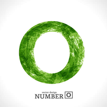 Grunge Symbol. Green Eco Style. Number 0. Illustration