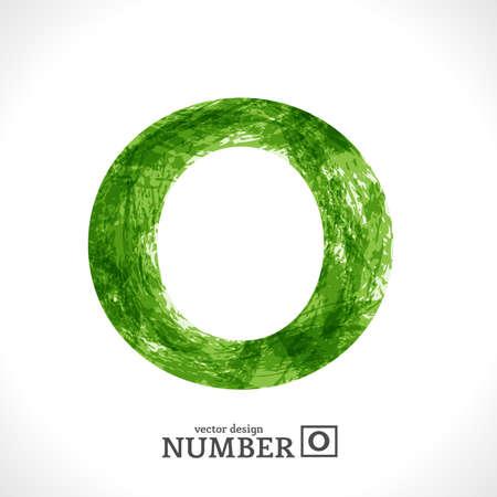Grunge Symbol. Green Eco Style. Number 0. Illustration