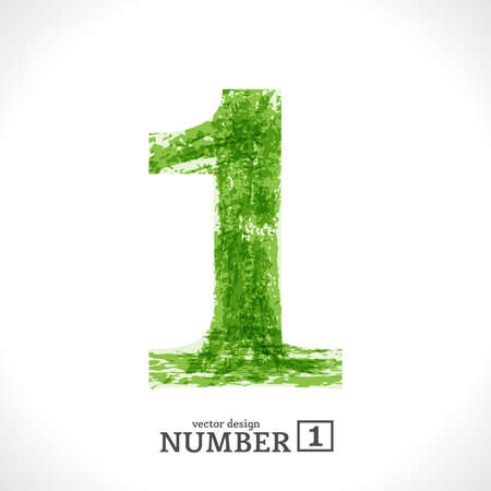 numbers abstract: Grunge Symbol. Green Eco Style. Number 1.