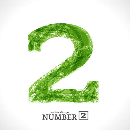number two: Grunge Symbol. Green Eco Style. Number 2.