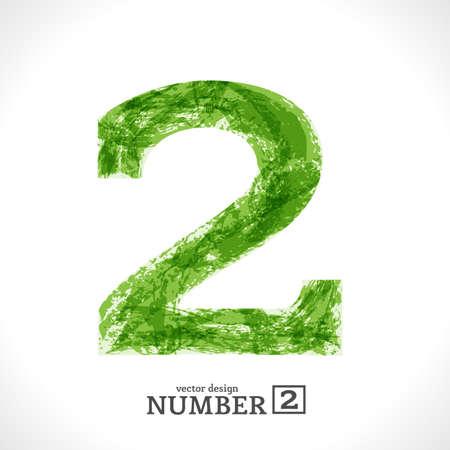 Grunge Symbol. Green Eco Style. Number 2.