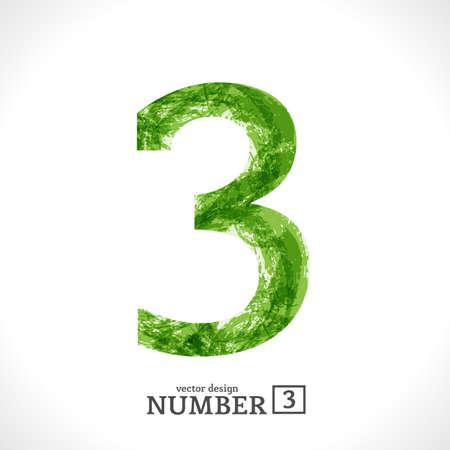 Grunge Symbol. Green Eco Style. Number 3. Illustration