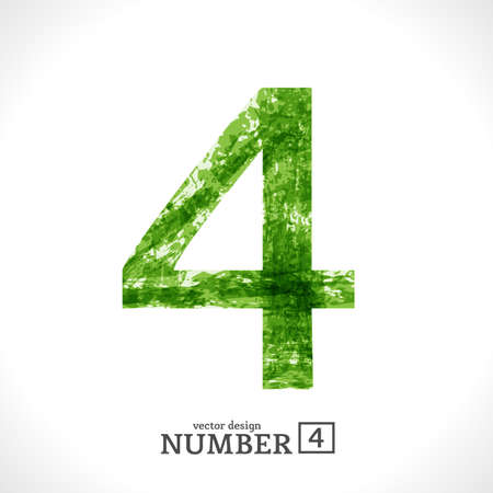 Grunge Symbol. Green Eco Style. Number 4. Vector