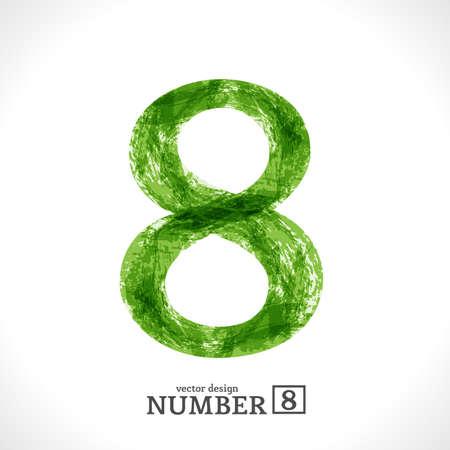 Grunge Symbol. Green Eco Style. Number 8.