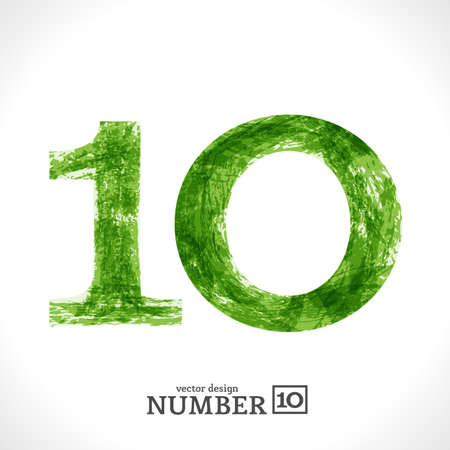 Grunge Symbol. Green Eco Style. Number 10. Vector