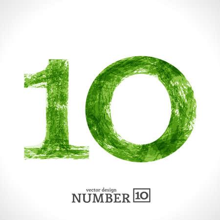 Grunge Symbol. Green Eco Style. Number 10.