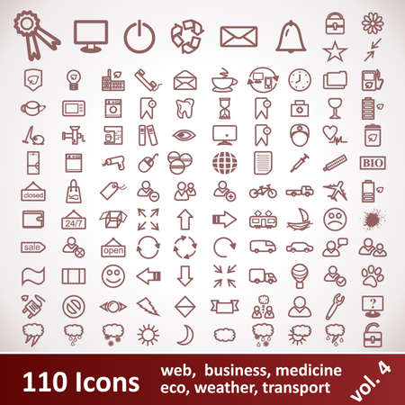 Icons  Large set  110 Items  Stock Vector - 17182565