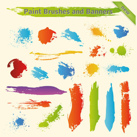 Brushes and Paint Banners. Set 2. Stock Vector - 17585047
