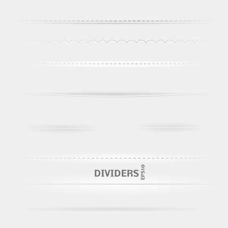 Set of Dividers. Design elements with different shadows.