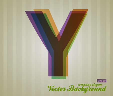 Color Transparency Letter. Retro Background. Symbol Y.