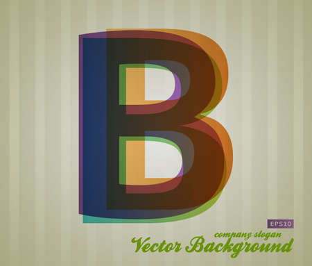 Color Transparency Letter. Retro Background. Symbol B. Stock Vector - 17584888