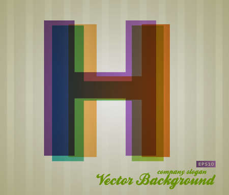 Color Transparency Letter. Retro Background. Symbol H. Illustration