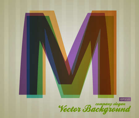 Color Transparency Letter. Retro Background. Symbol M. Illustration