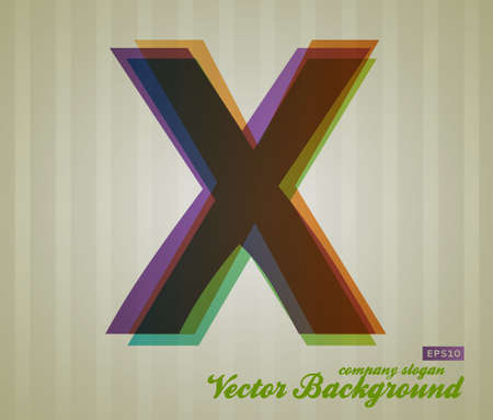letter x: Color Transparency Letter. Retro Background. Symbol X.