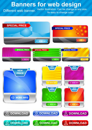 Banners for Web Design. Large Set. Stock Vector - 18243652