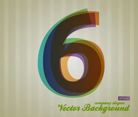 Color Transparency Number. Retro Background. Symbol 6. Vector