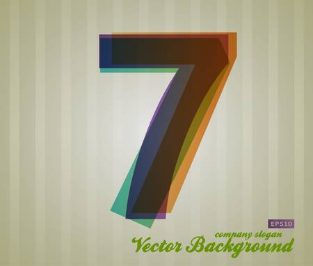 Color Transparency Number. Retro Background. Symbol 7. Vector