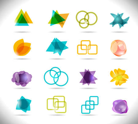 Design Elements. Collection of Bright Color Isolated Shapes. Ilustrace