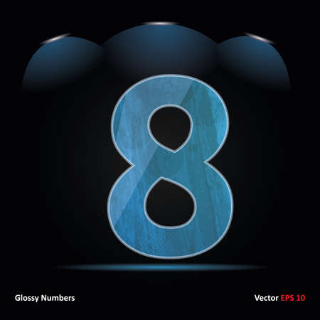Glossy Grunge Font. Dark Background. Number 8. Illustration