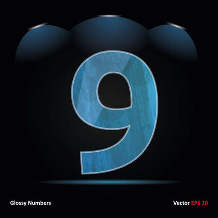 Glossy Grunge Font. Dark Vector Background. Number 9.
