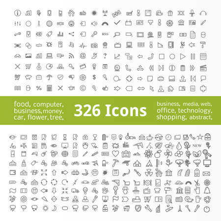 Icons Collection. 326 Items (Business symbols, Eco symbols, Flower symbols, Office symbols, Medical symbols and others). Illustration