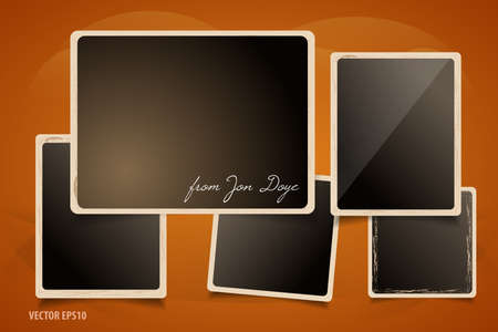 Collection of Grunge Photo Frames. Dark Wall with Art Background.