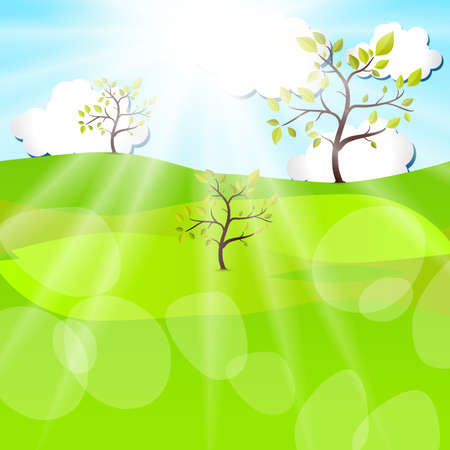 Summer Landscape. Vector Design Background of Beautiful Day. Illustration