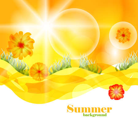 Summer Time Vector Background Template. Beautiful Nature Design Backdrop.