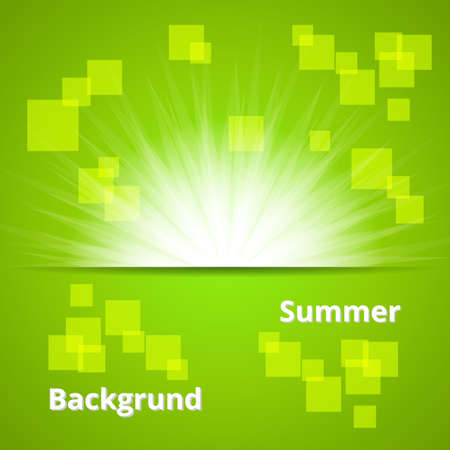 Summer Background  Green Sun Set Backdrop  Illustration
