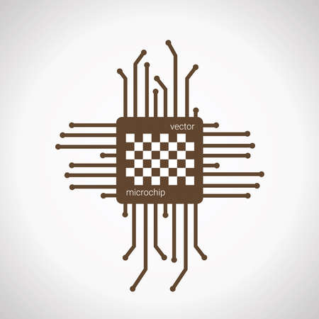 Chip isolated minimal icon, vector microchip illustration.