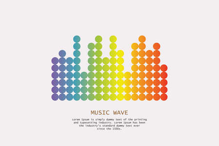 Pulse music player. Audio colorful wave logo. Vector equalizer element. Isolated design symbol. Stock Photo