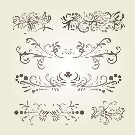 Victorian set of brown gradient ornate page decor elements banners, frames, dividers, ornaments and patterns on light background. Collection design elements. Brown gradient calligraphic swirl elements Illustration