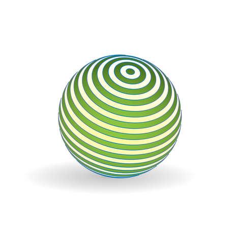 3D Striped ball logo Illustration