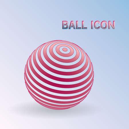 3D Striped ball icon