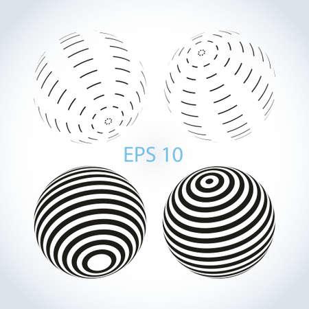 Set of striped ball logo Stock Photo
