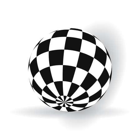 boule 3d avec des carrés de noir et blanc sur un avion Vecteurs