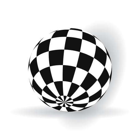 3d ball with squares of black and white on a plane