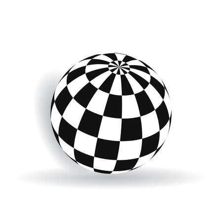 Ball with squares of black and white on a plane