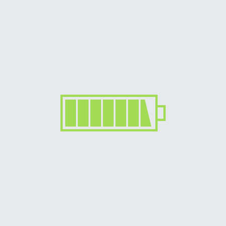 Charged battery icon. Green isolated vector symbol on a white. Çizim