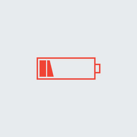 Battery low vector icon. Red isolated symbol on a white.