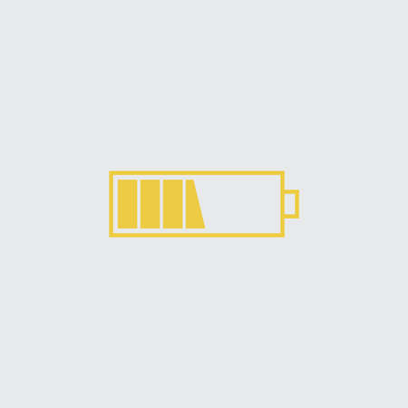 Battery middle vector icon. Yellow isolated symbol on a white.