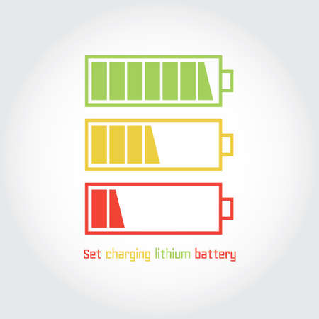 Set charging lithium battery. Vector icon. Isolated symbol on a white.