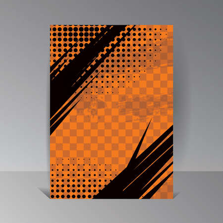 Orange Grunge Background and Texture. Vector Illustration with Halftone Dots