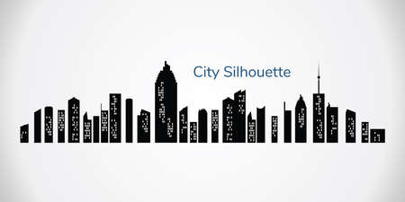 Vector city silhouette. Night town on transparent background. City landscape