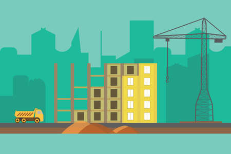 Construction vector background. Building process web banner in flat style Illustration