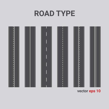 Vector road type. Set of different road marking. vertical straight asphalt roads. Illustration