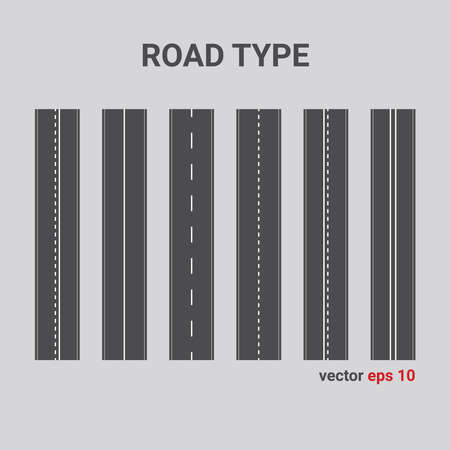 Vector road type. Set of different road marking. vertical straight asphalt roads.