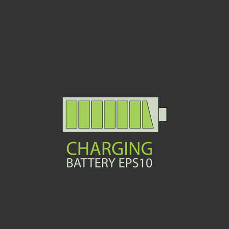 Fully charged battery. Green isolated vector symbol on a black. Illustration